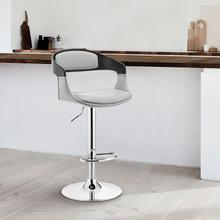 Benson Adjustable Grey Faux Leather and Black Wood Bar Stool with Chrome Base