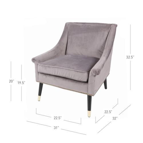 Etude KD Fabric Accent Chair Black w/Gold Metal Tip Legs, Glam Gray
