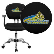 John Jay College of Criminal Justice Bloodhounds Embroidered Black Mesh Task Chair with Arms and Chrome Base