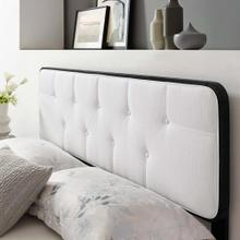 Collins Tufted Twin Fabric and Wood Headboard in Black White