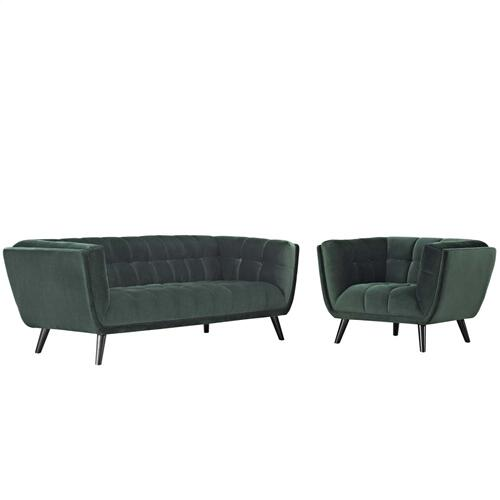 Bestow 2 Piece Performance Velvet Sofa and Armchair Set in Green