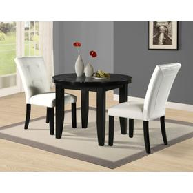 Markina 3 Piece Round Black Marble Set (Counter Table & 2 Counter Chairs)