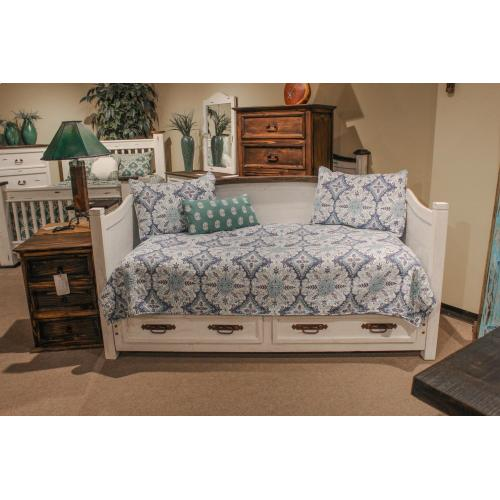 L.M.T. Rustic and Western Imports - White Curved Top Daybed W/2 Drawers DISCONTINUED