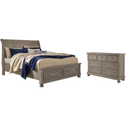 King Sleigh Bed With 2 Storage Drawers With Dresser