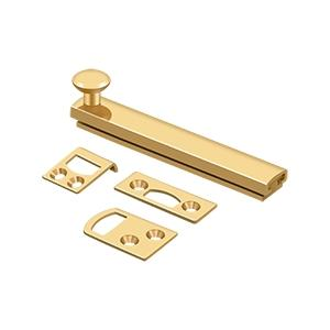 """Deltana - 4"""" Surface Bolt, Concealed Screw, HD - PVD Polished Brass"""