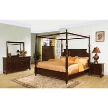See Details - Queen Canopy Bed, Dresser, Mirror, Chest, and Nightstand