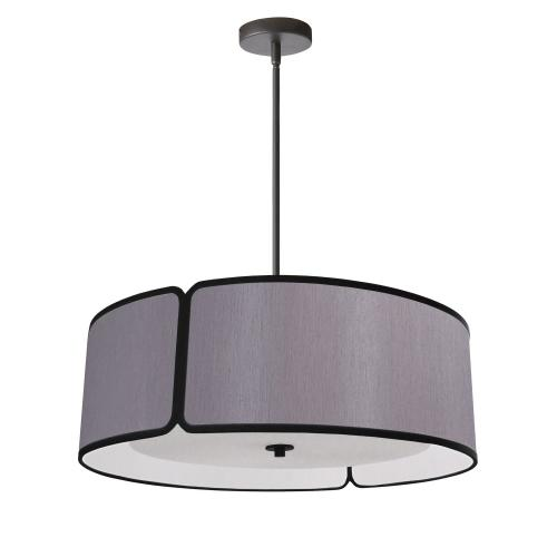 Product Image - 4lt Notched Drum Pendant Bk, Grey Shade & Diffuser