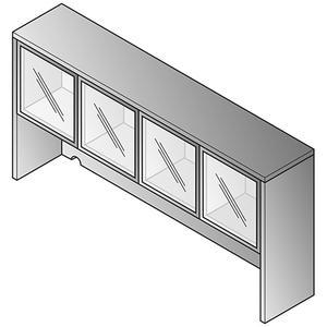 "Office Star - Overhead Storage 2/ctns-glass Doors 71""x15""x36"""