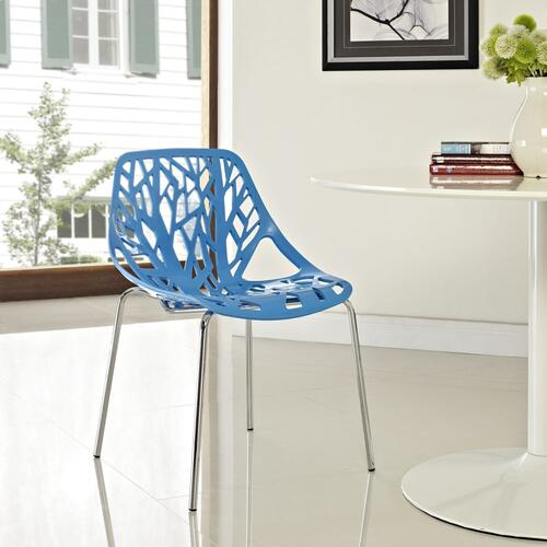 Stencil Dining Side Chair in Blue