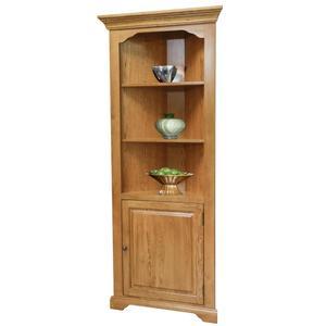 Tennessee Enterprises - Corner Bookcase w/Door, Fixed Shelves, Oak/Ply