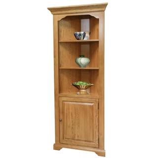 Corner Bookcase w/Door, Fixed Shelves, Oak/Ply