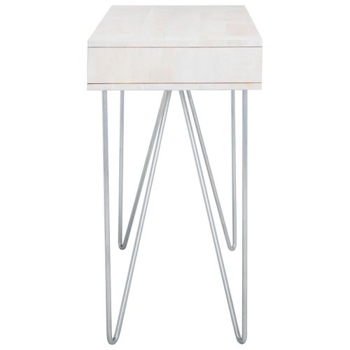 Raveena Desk - White Wash / Mixed White Wash / Silver