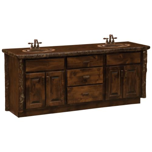 Vanity with Top - 72-inch - Espresso - Double Sink - Liquid Glass