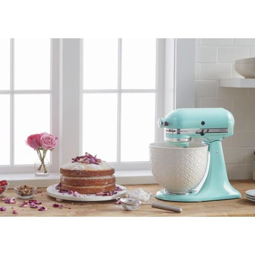 Artisan® Series Tilt-Head Stand Mixer with White Mermaid Lace Bowl - Aqua Sky