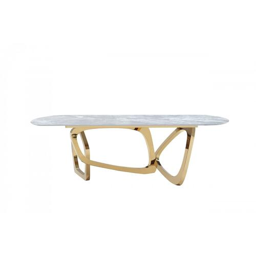 Modrest Colton - Modern Gray Microlite & Gold Dining Table