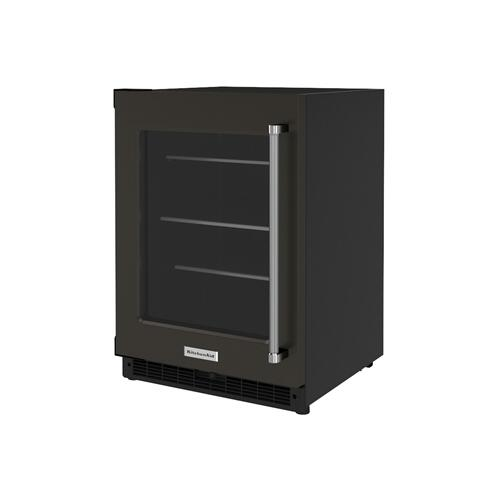 """KitchenAid Canada - 24"""" Undercounter Refrigerator with Glass Door and Shelves with Metallic Accents - Black Stainless Steel with PrintShield™ Finish"""