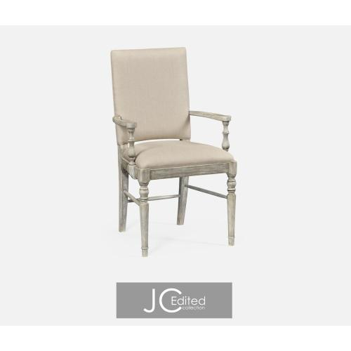 Rustic grey upholstered armchair