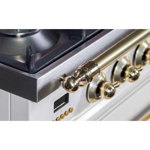 Nostalgie 30 Inch Gas Natural Gas Freestanding Range in Antique White with Brass Trim