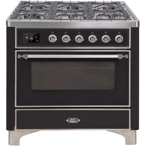 Ilve - Majestic II 36 Inch Dual Fuel Natural Gas Freestanding Range in Glossy Black with Chrome Trim