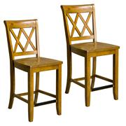 Vintage Distressed 2-Pack Honey Oak Counter Height Stools Product Image