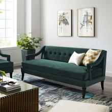 Concur Button Tufted Performance Velvet Sofa in Green