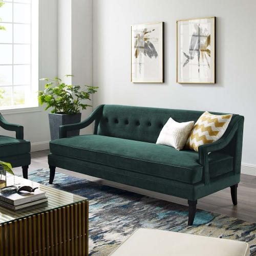 Modway - Concur Button Tufted Performance Velvet Sofa in Green