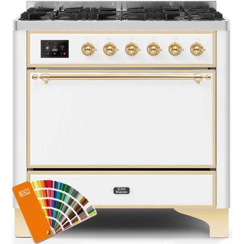 Ilve - Majestic II 36 Inch Dual Fuel Liquid Propane Freestanding Range in Custom RAL Color with Brass Trim