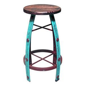 Aqua Scraped Round Barstool