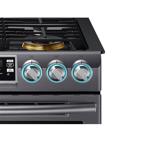 5.8 cu. ft. Slide-In Gas Range with Flex Duo™ & Dual Door in Black Stainless Steel