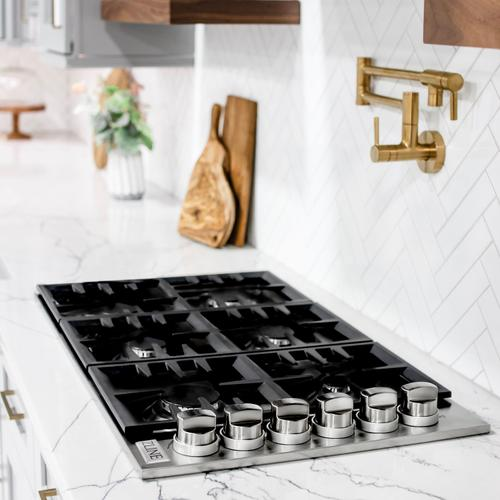 """Zline Kitchen and Bath - ZLINE 36"""" Dropin Gas Stovetop with 6 Gas Burners and Black Porcelain Top (RC36-PBT) [Color: Stainless Steel Black Finish with Brass Burners]"""