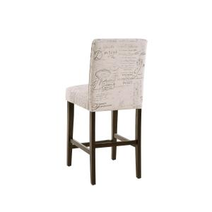 "Upholstered Square Back 24"" Counter Stool in Paris Script"