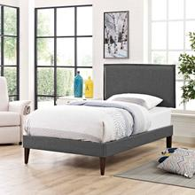 View Product - Amaris Twin Fabric Platform Bed with Squared Tapered Legs in Gray