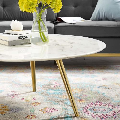 """Lippa 36"""" Round Artificial Marble Coffee Table with Tripod Base in Gold White"""