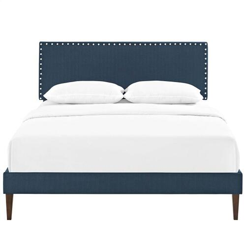 Modway - Macie Full Fabric Platform Bed with Squared Tapered Legs in Azure
