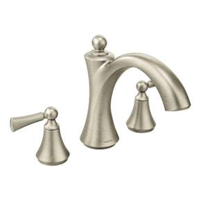 Wynford brushed nickel two-handle roman tub faucet
