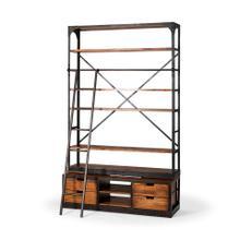 Brodie II 57L x 20.5W x94H Medium Brown Wood Copper Ladder Four Shelf Shelving Unit