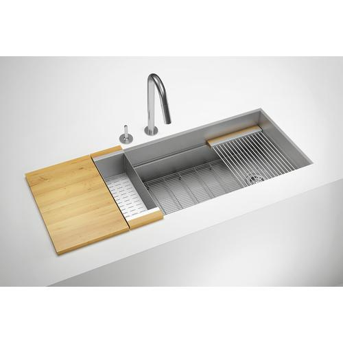 "SmartStation® 005406 - undermount stainless steel Kitchen sink , 18"" × 18 1/8"" × 10""  12"" × 18 1/8"" × 10"" (Maple)"