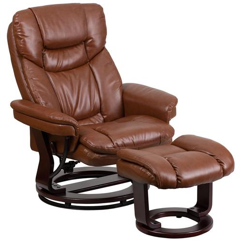 Contemporary Multi-Position Recliner and Curved Ottoman with Swivel Mahogany Wood Base in Brown Vintage LeatherSoft