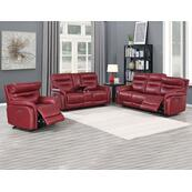 Fortuna Wine 3-Piece Dual-Power Leather Reclining Set(Sofa, Loveseat & Chair)