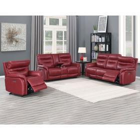Fortuna Wine 3-Piece Dual-Power Leather Reclining Set(Sofa, Loveseat & Chair)