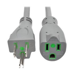 Hospital-Grade Extension Cord, NEMA 5-15P to NEMA 5-15R - Green Dot, 13A, 125V, 16 AWG, 2 ft., Gray