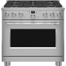 """View Product - Café 36"""" Smart Dual-Fuel Commercial-Style Range Stainless Steel"""