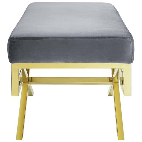 Rove Velvet Performance Velvet Bench in Gold Gray