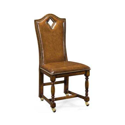 """High back playing card """"Diamond"""" side chair with medium antique chestnut leather"""