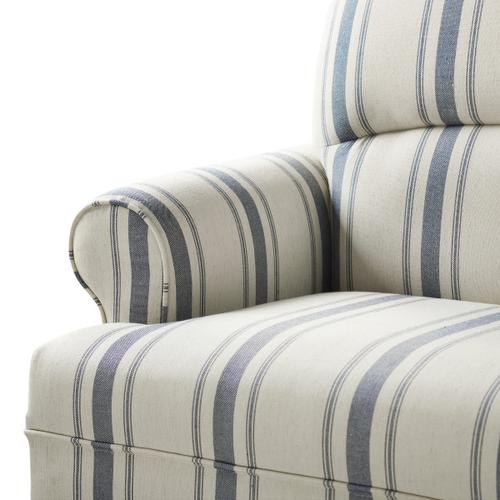 Roll Arm Upholstered Sofa in Cambridge Blue Stripe