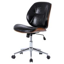 Shaun KD PU Bamboo Office Chair, Black/Walnut