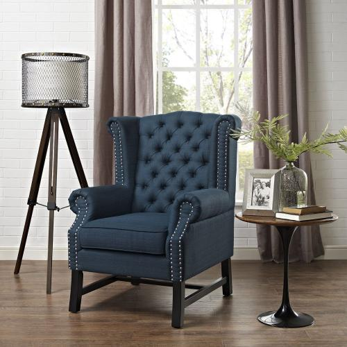 Steer Upholstered Fabric Armchair in Azure