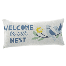 """See Details - """"Welcome to Our Nest"""" Bird Lumbar Knit Pillow"""