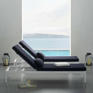 Perspective Cushion Outdoor Patio Chaise Lounge Chair in White Navy