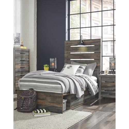 Twin Panel Bed With 4 Storage Drawers With Mirrored Dresser, Chest and Nightstand